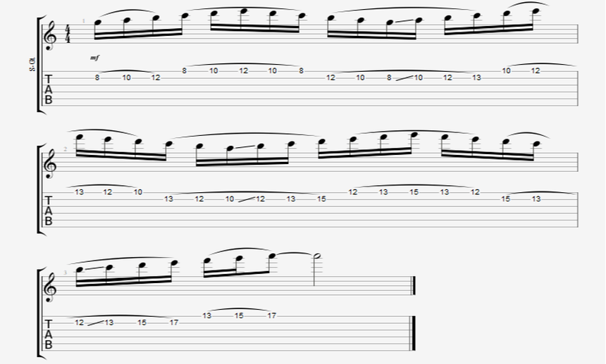 Ascending 16th Note Legato Guitar Run Exercise In A Minor Mile