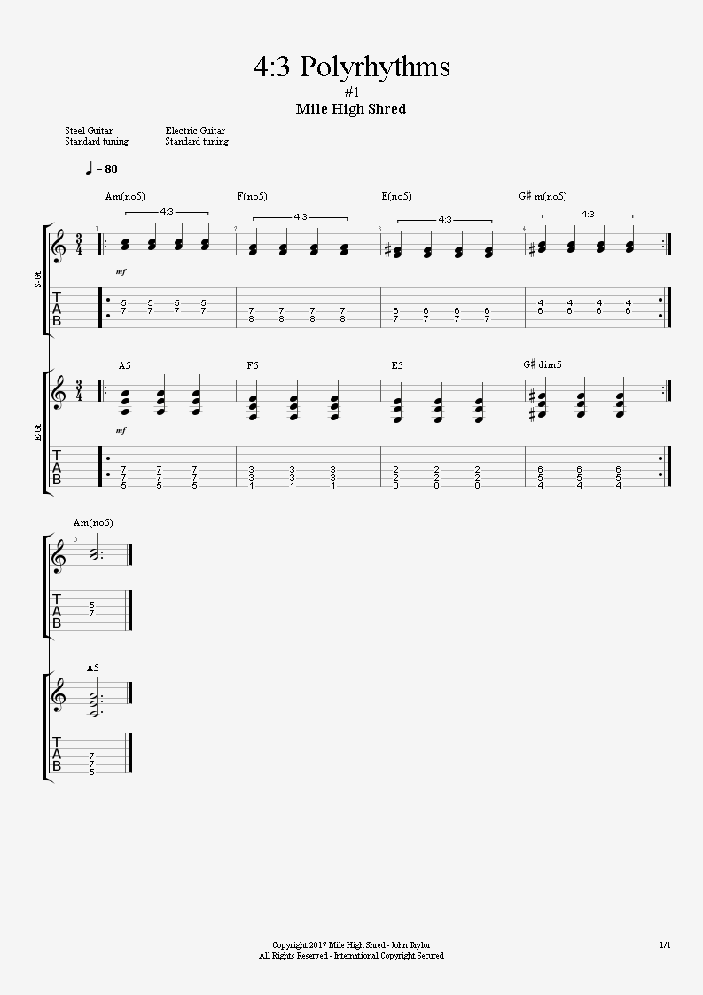 4:3 Polyrhythm for 2 Guitars