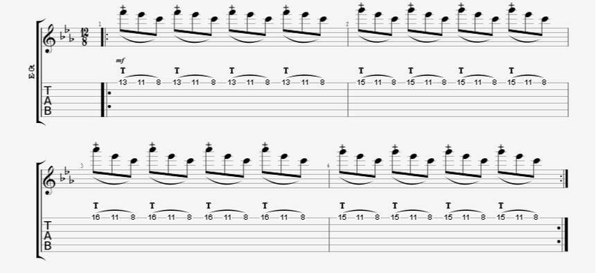 finger tapping riff tap pull-off pull-off