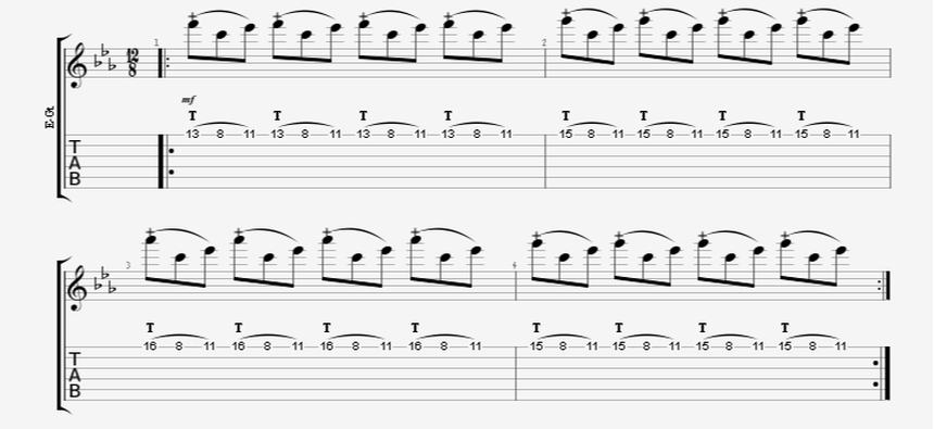 finger tapping guitar riff tap pull-off hammer-on