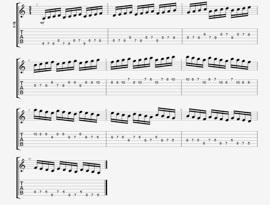 4 note coil guitar exercise minor scale aeolian mode