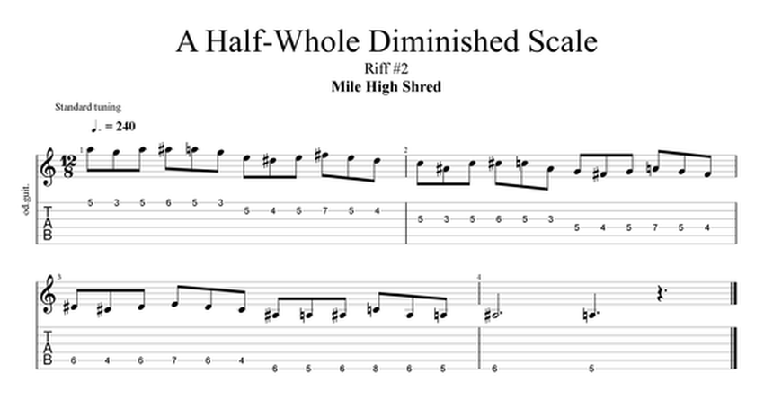 half whole diminished scale guitar exercise