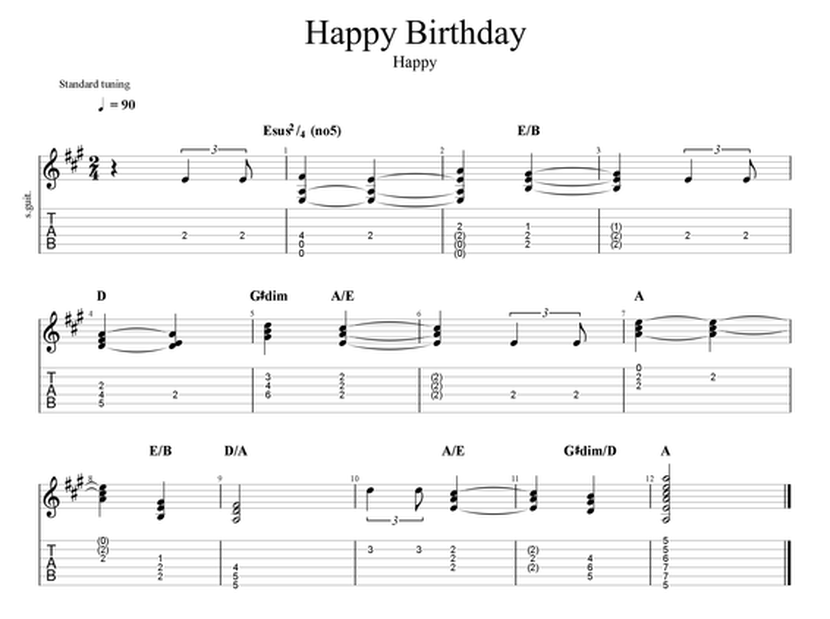 Happy Birthday for Guitar