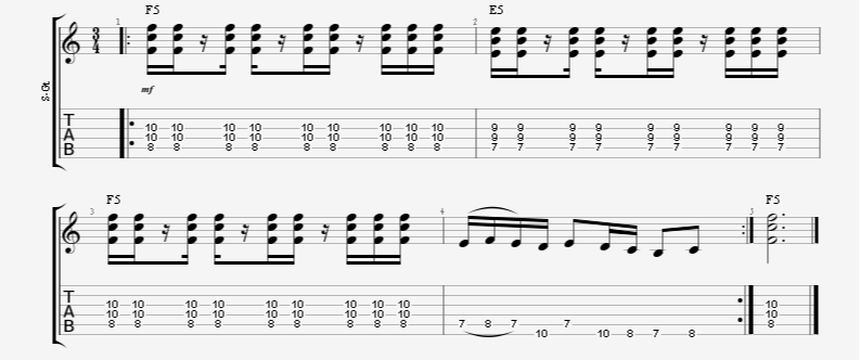 3/4 Time Signature Syncopation Guitar Riff