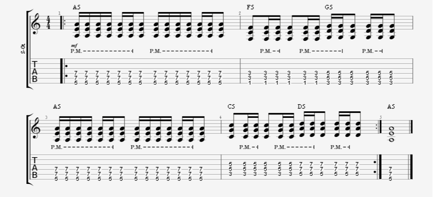 guitar exercise rhythm palm mute accent pattern 16th notes gallop reverse
