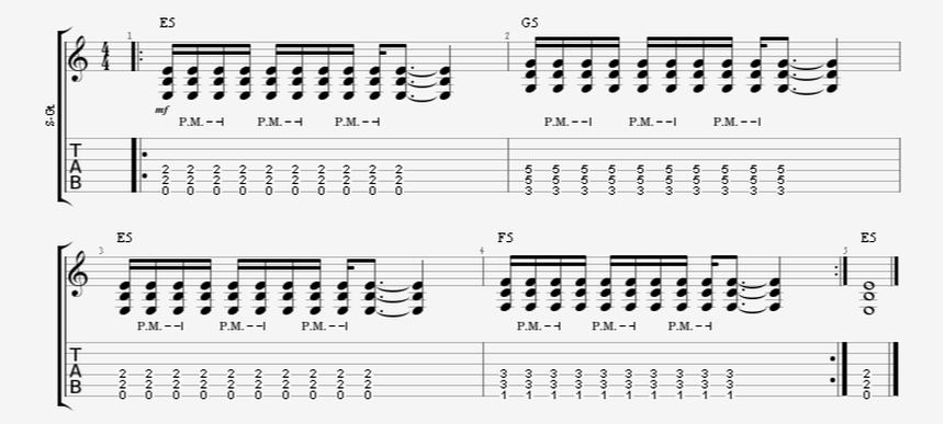 16th Note Palm-Mute Pattern with Power Chords Introduction - 3 Chord Groupings