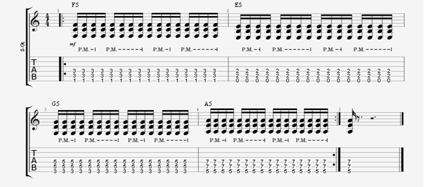 16th Note Power Chord Palm-Mute Pattern Guitar Exercise