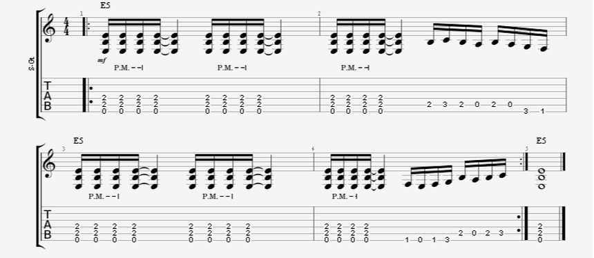 guitar exercise riff palm-mute power chord 16th note runs