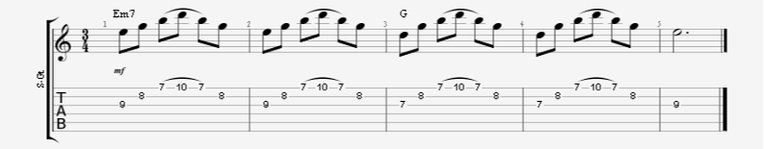 Em7 to G Major 3 String Sweep Picked Arpeggios