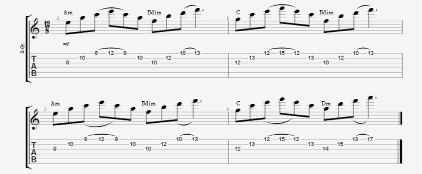 3 string arpeggio sweep picking shapes