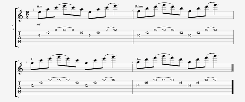 3 string guitar sweep picking arpeggios