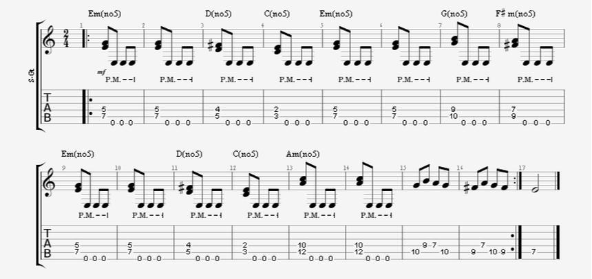 Diad Guitar Chords with Palm Muted Open E String
