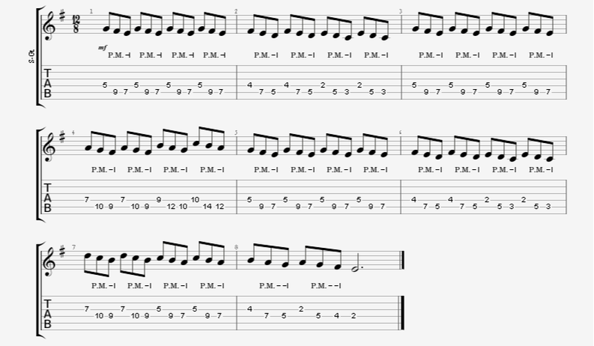 Melodic Triplet Palm-Mute Accent Single Notes Metal Guitar Riff Example