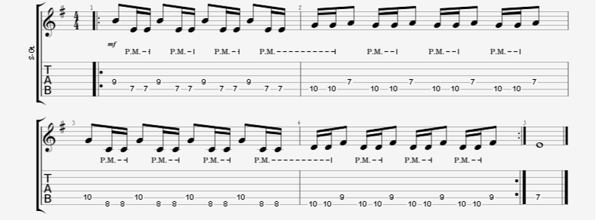 Single Note Palm-Mute Accent Gallop to Reverse Gallop Patterns Guitar Exercise