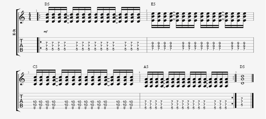 16th note guitar strumming pattern