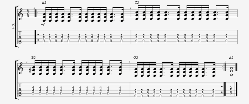 dotted 8th note to 16th note guitar rhythm strumming pattern