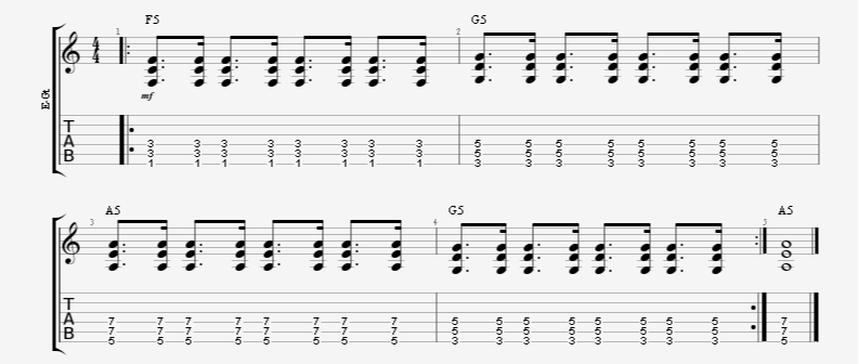 dotted 8th note + 16th note guitar strum pattern