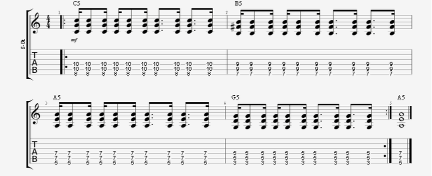 guitar rhythm strumming pattern