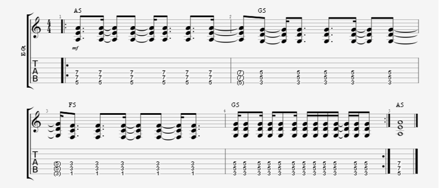 4:3 polyrhythm guitar strumming pattern 4 against 3 4 across 3