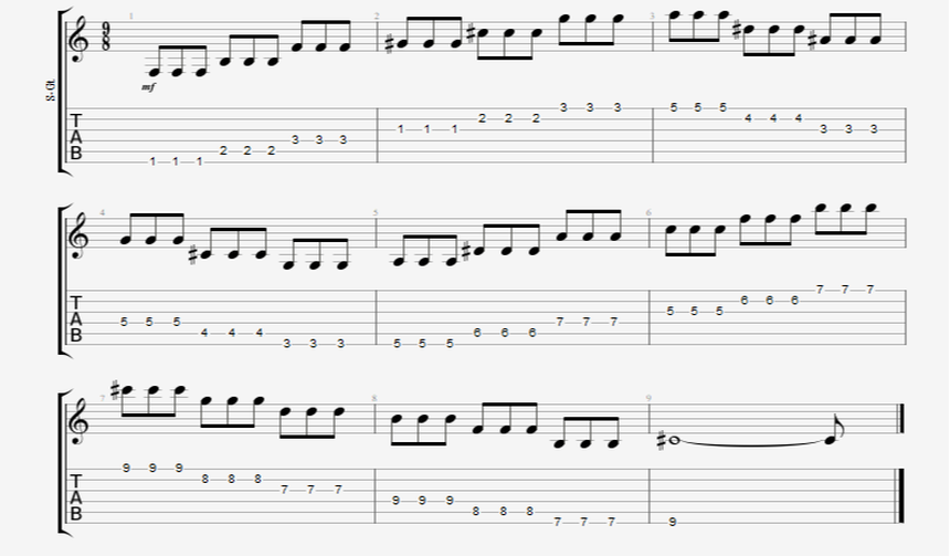 Chromatic String Changing Triplets Up and Down all Six Guitar Strings Exercise