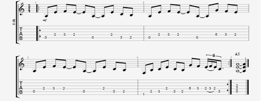 8th Notes Guitar Riff in a 5/4 Time Signature