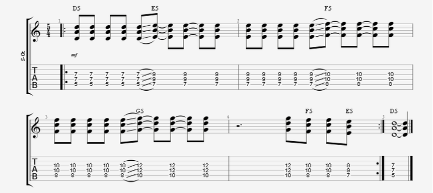 5/4 time signature power chord guitar progression