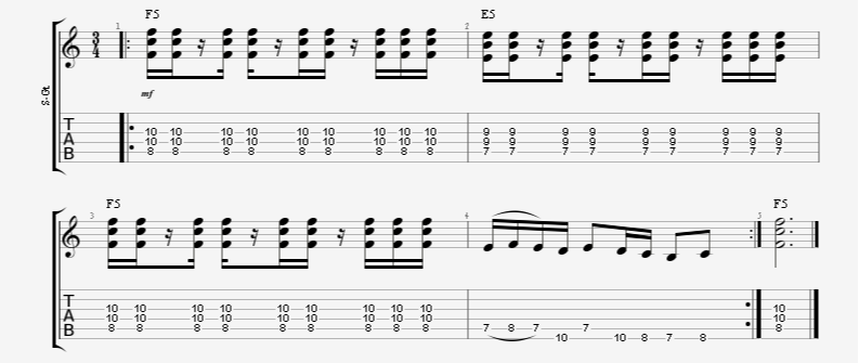 3/4 time signature guitar rhythm with rests