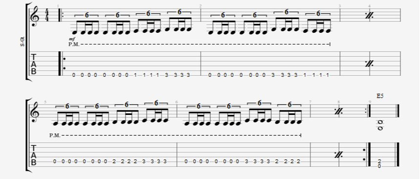 Palm-Muted Triplet/Sextuplet Single Note Rhythm Guitar Riff