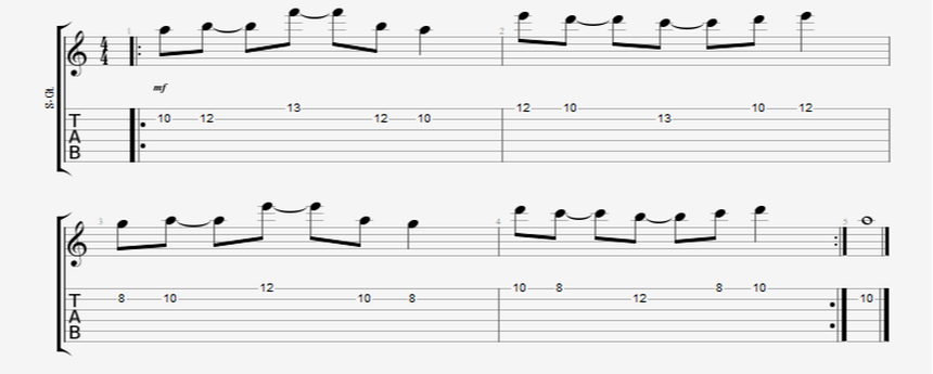 8th note guitar picking pattern