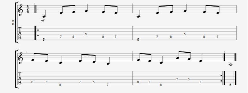 guitar 8th note gallop and reverse gallop picking pattern