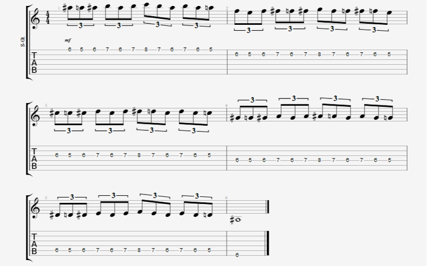 chromatic guitar finger exercise