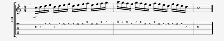 4 note coil guitar exercise