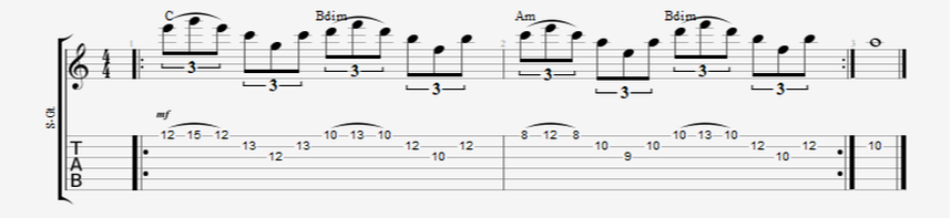 3 string guitar arpeggio sweep pick shapes