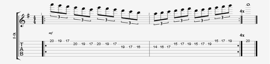 paul gilbert sixes triplet shred guitar endurance exercise