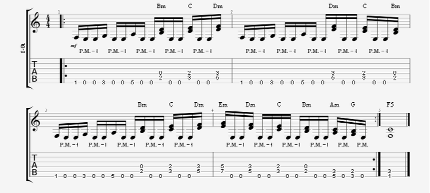 guitar exercise riff melodic single note palm-mute diads