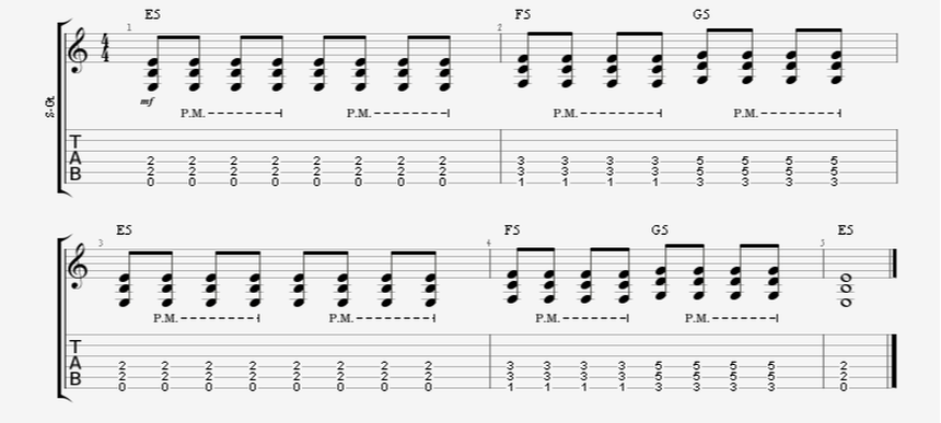 Basic Beginner Palm-Mute Accent Pattern Guitar Exercise