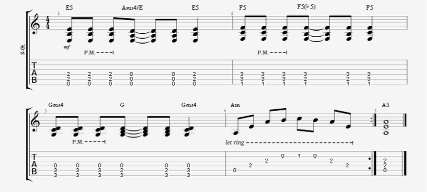 Riffing in the Low Frets Guitar Lesson Example
