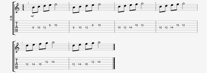 5 Note Ascending Burst Guitar Exercise