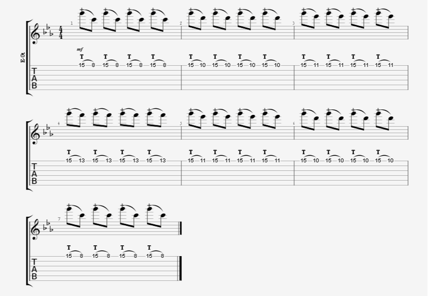 beginner finger-tapping guitar exercise