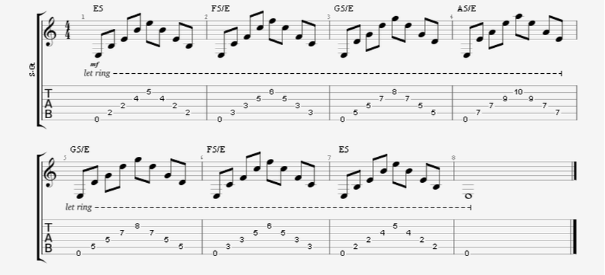 Large Barre Power Chord Shape Guitar Exercise