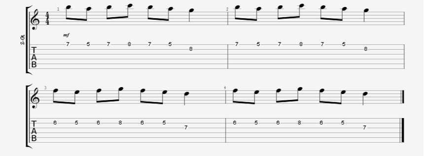Alternate Picking + Finger Guitar Exercise in 7 Note Bursts